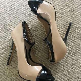 Nude T-Strap Heels