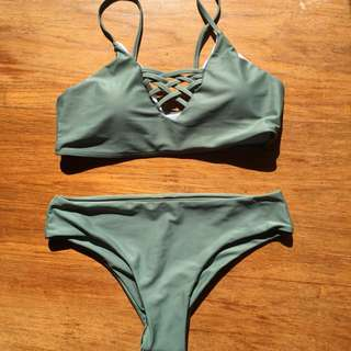 Zaful Lace Up Bikini Swimwear - Army Green