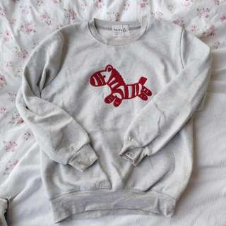 Light Grey Horse Cute Sweater