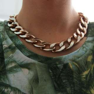 Faux Gold Chain Link Necklace