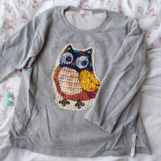 Women Light Grey Owl Sweater