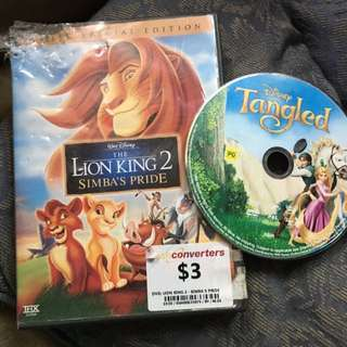 Kids DVDs Tangled/ Lion King 2 Special 2 Disc Edition