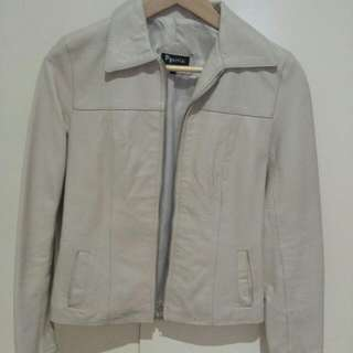 Cream Suede Leather Jacket Size 1