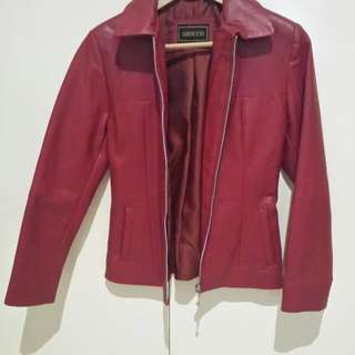Red Leather Jacket Size S