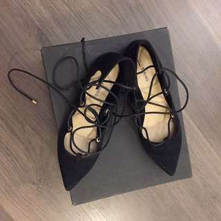 Suede Ballerina Laced up Flats  (Call It Spring)