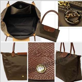 LONGCHAMP, foldable tote in Dark Brown