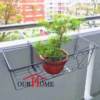 FR002 Adjustable Flower Pot Rack Parapet Balcony Railing Corridor Hanging Plant Holder