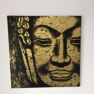 Buddha Face Painting on Canvas  - Large - Golden - hand painted.
