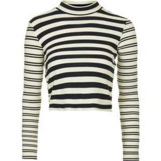 Topshop Striped High Neck Crop Top