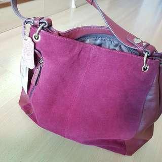 Genuine  Leather Dark Rose Red Shoulder Bag