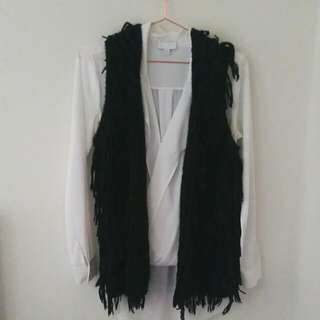 Sportsgirl Shaggy Fringe Vest (15% Wool) Would Fit Just About Anyone!