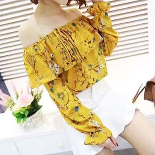 Baju Sabrina Mustard Yellow