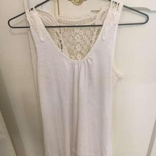 Cream Summer Detailed Back Top