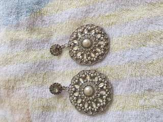 Silver/ Pearl Round Earrings