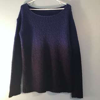 Brandy Melville Two Tone Navy Knit Sweater