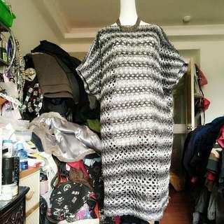 手織長版罩衫