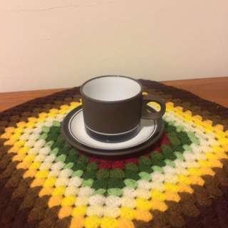 🚚 英國製Hornsea霍恩西Contrast對比系列咖啡杯+盤