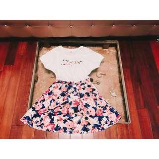 BearTwo玫瑰花蕾絲邊袖口夏日短袖連身裙洋裝