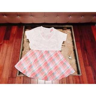 BearTwo粉藍條文格吊帶洋裝罩衫兩件式連身裙(可分開穿)