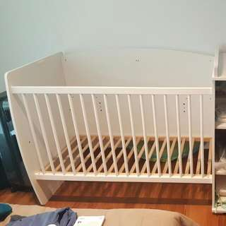 Baby Bed Cot And Wardrobe With Changing Table