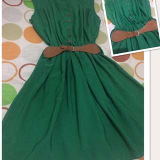 REPRICE...!! green drees, size s, no brand