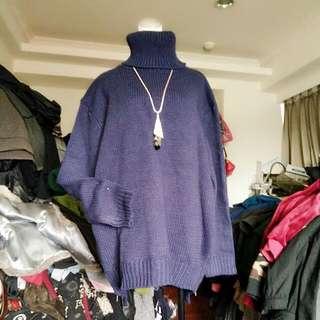 紫色長版毛衣