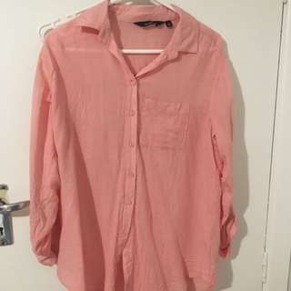 Basic Pink Button Up Top