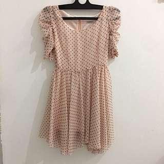Panelli- Pink Pastel Polkadot Dress