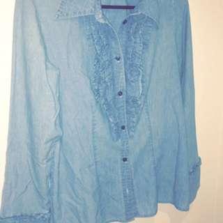 Blue Denim Ruffle Shirt
