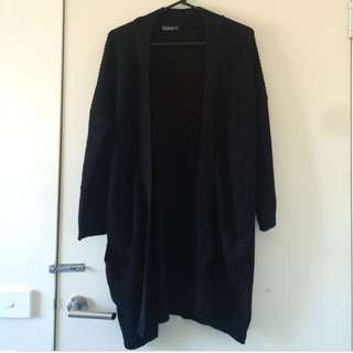 Black Long Knit Cardigan