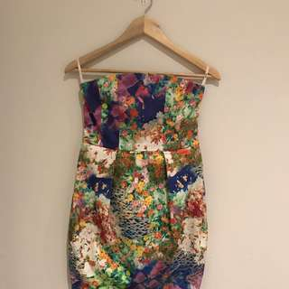 MARY KATRANTZOU Style Dress By Bardot Graphic Print Floral Strapless Colourful