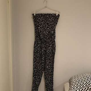Strapless Animal Print Jumpsuit Leopard With Pockets