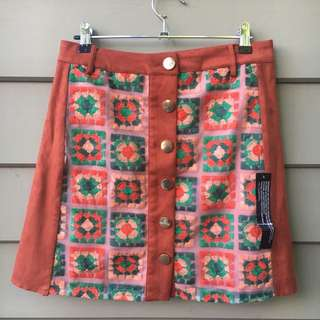 Suede Crochet Skirt New With Tags 70s Festival
