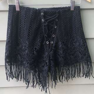 Black Lace Biker Festival Shorts With Tassels