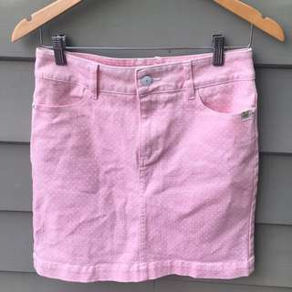 Insight Denim Pink Polka Dot Skirt