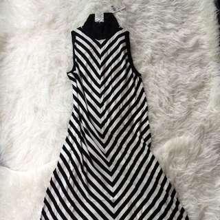 Agnes B Black & White Striped Viscose Dress