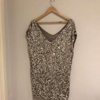 AMAZING High Quality Sequin Silver Dress Oversized