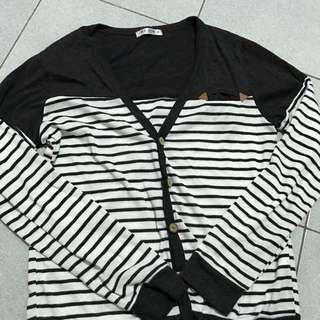 薄外套罩衫外套黑白外套線條外套韓版罩衫