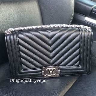 Chanel Quilted Black Leather Boy Bag