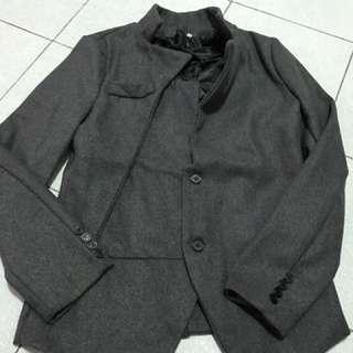 剪裁外套造型外套灰色外套保暖外套韓版外套