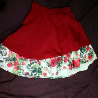 Ruby Red Skater Skirt With Floral Accent