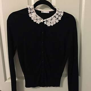 Black Cardigan With White Crochet/lace Collar
