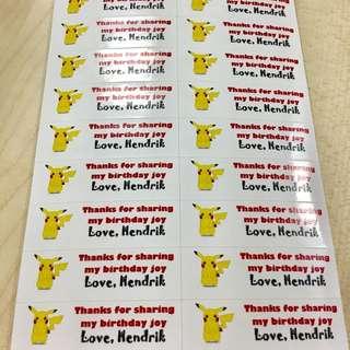 Pokémon Pikachu 40pc Birthday Kids Stickers Personalised
