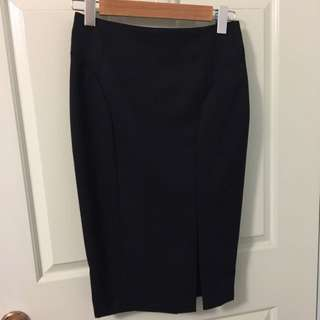 Oxford Black Suit Skirt With Front Split