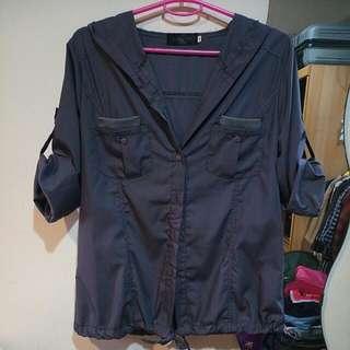 🚚 OB 工業風灰色襯衫薄外套