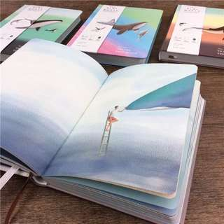 Watercolour The Blue Whale Illustrated Notebook Pages