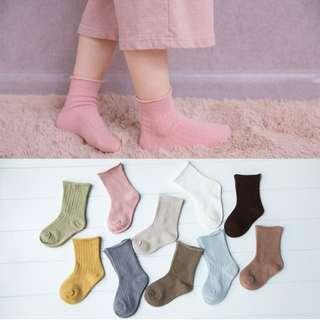兒童坑條捲邊棉襪