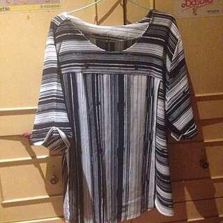 Stripes Navy White Blouse Shirt