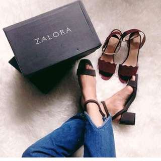 Zalora Strappy Sandals Medium Heels