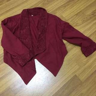 Maroon Crop Outerwear